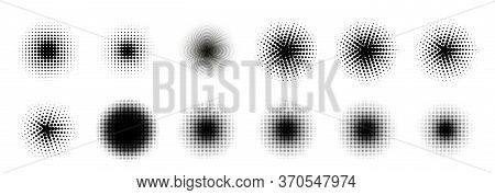 12 Halftone Circle Big Set. Popart Grange Clipart. Abstract Round Halftone Circle Vector. Artistic A
