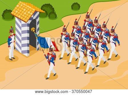 Napoleon's Grenadiers Parade Illustration Isometric Icons On Isolated Background