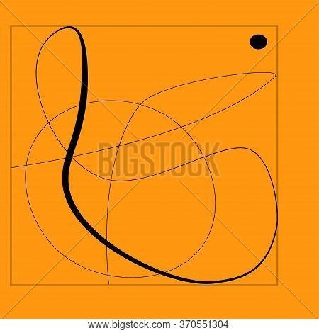 Line Cubism Abstract Shape Modern Illustration. Orange And Black