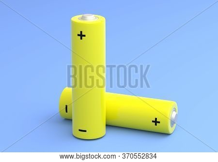Two Yellow Aa Size Batteries Isolated On Blue Background In Pastel Colors. Alkaline Battery. Minimal