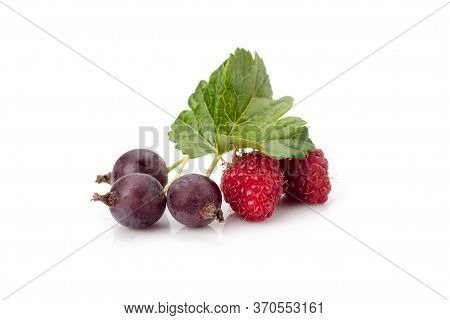 Black Currant With Raspberry And Leaves Isolated On White