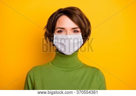 Close-up Portrait Of Her She Nice Pretty Girl Wearing Gauze Safety Mask Stop Contagious Ncov Cov Mer