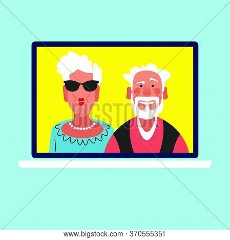 Elderly Couple Enjoy Video Chat.  Old Man And Woman Talk Online Using Webcam On Computer. Video Call