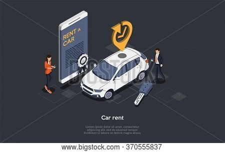 Car Rent Online Service Concept. Customer Has Rented Car For Business Trip Or Vacations. Vehicle Boo