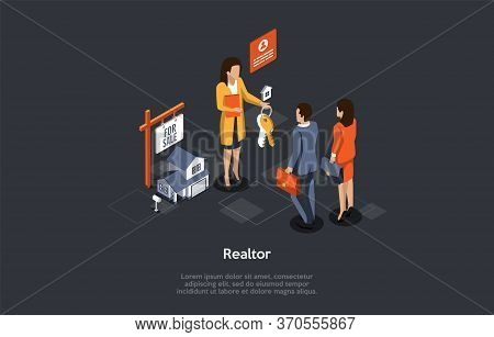 Concept Of Real Estate Rental And Buy. Realtor Gives Keys From New Home To Young Couple. People Have
