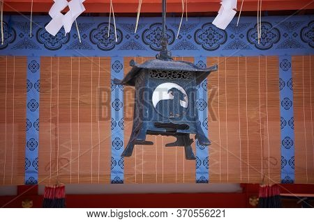 Old Traditional Lantern At An Ancient Shinto Shrine Of Fushimi Inari In Kyoto, Japan