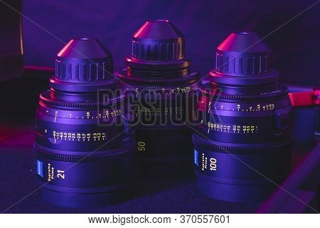 Kyiv, Ukraine - 04.17.2020: Studio Shoot Of Professional Lens Zeiss Supreme Prime, Close-up. Profess