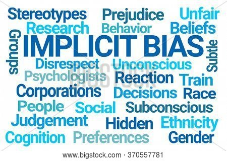Implicit Bias Word Cloud on White Background