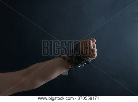 Hand Chain Fist Lock Black Background Shadow Protest