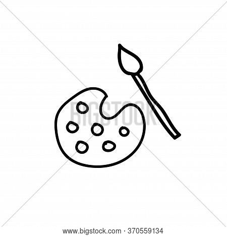 Palette And Brush Doodle Set Creativity Icon Vector