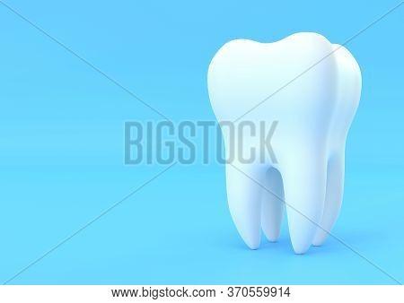Dental Model Of Premolar Tooth On Blue Background. Concept Of Dental Examination Teeth, Dental Healt
