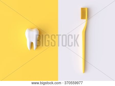 Toothbrush And White Tooth On A Yellow Background. Concept Of Dental Examination Teeth, Dental Healt