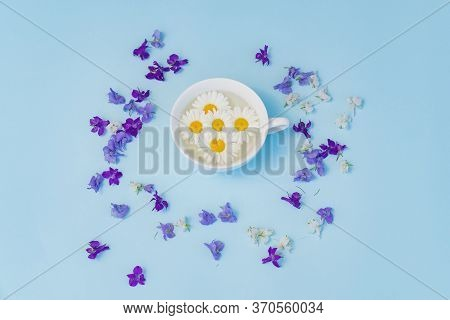 Cup With Daisies On A Blue Background. Therapeutic Soothing Tea. The Concept Of Natural Medicines An
