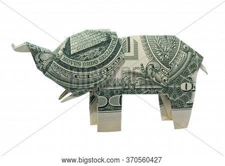 Money Origami Elephant With Tusks Folded With Real One Dollar Bill Isolated On White Background