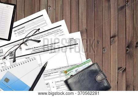 Uscis Form I-751 Petition To Remove Conditions On Residence Lies On Flat Lay Office Table And Ready