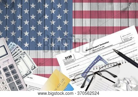 Irs Form 2120 Multiple Support Declaration Lies On Flat Lay Office Table And Ready To Fill. U.s. Int