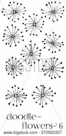Doodle Flowers 6 Hand Drawn Vector Image Set, Simple Line Drawing Illustration Variations