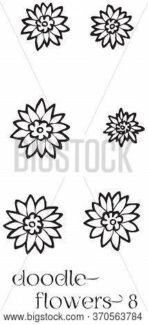 Doodle Flowers 8 Hand Drawn Vector Image Set, Simple Line Drawing Illustration Variations