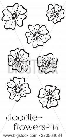 Doodle Flowers 14 Hand Drawn Vector Image Set, Simple Line Drawing Illustration Variations