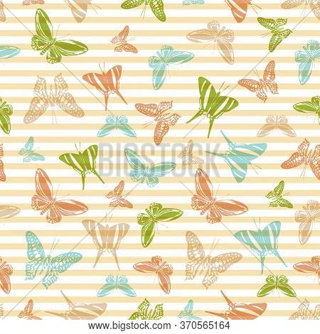 Flying Vivid Butterfly Silhouettes Over Striped Background Vector Seamless Pattern. Girlish Fashion