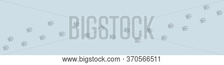 Image Of Footprint Silhouette On Snow. Wolf Footprints In The Snow. Cracks In The Snow. Vector Illus