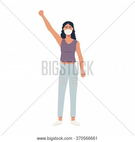 Caucasian Protester In Respiratory Mask, Hand Fist Raised Up. White Woman Protesting, Fighting For H