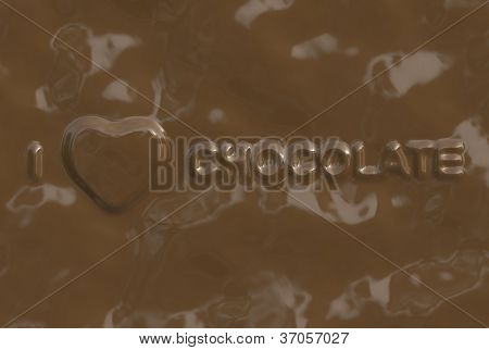 A word/phrase made of chocolate from a chocolate series.