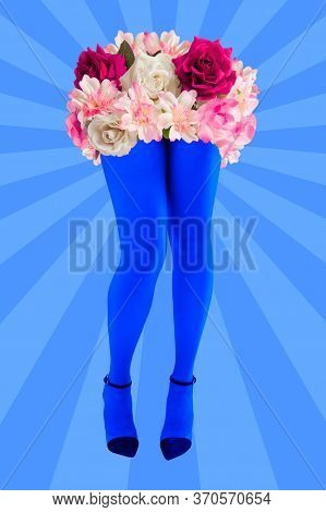 Rose Buds And Womans Beautiful Legs In Acid Color Tights And High Heels Shoes On A Colorful Backgrou