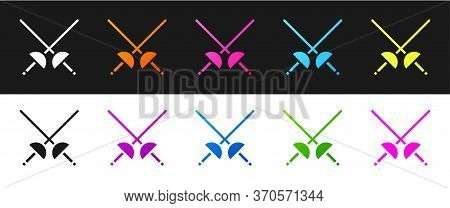 Set Fencing Icon Isolated On Black And White Background. Sport Equipment. Vector Illustration