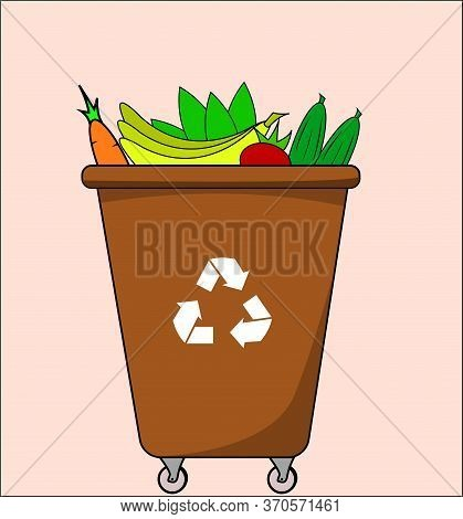 Trash Dumpster With Organic, For Recycling. Segregate Waste, Sorting Garbage, Waste Management. Vect