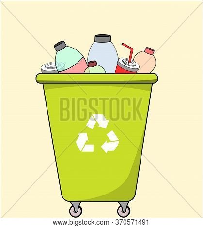 Trash Dumpster With Plastic, For Recycling. Segregate Waste, Sorting Garbage, Waste Management. Vect