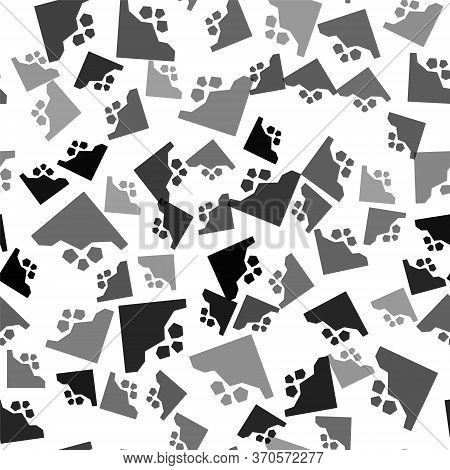 Black Landslide Icon Isolated Seamless Pattern On White Background. Stones Fall From The Rock. Bould