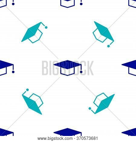 Blue Graduation Cap Icon Isolated Seamless Pattern On White Background. Graduation Hat With Tassel I
