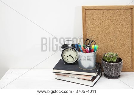 Copy Space. Workplace Office Worker. Alarm Clock, Succulent In Ceramic Pot, Writing Board, Bucket Wi