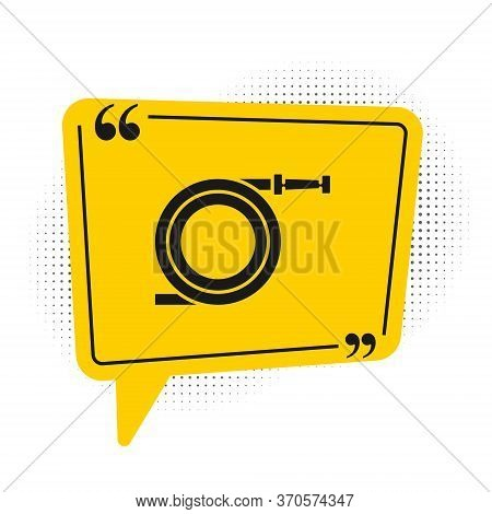 Black Garden Hose Or Fire Hose Icon Isolated On White Background. Spray Gun Icon. Watering Equipment