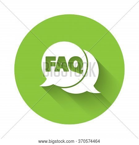 White Speech Bubble With Text Faq Information Icon Isolated With Long Shadow. Circle Button With Tex