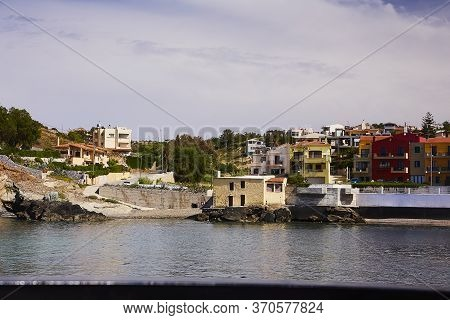 Panormo, The Crete Island, Greece - May 30, 2019: Beautiful View To The Village Of Panormo, The Cret