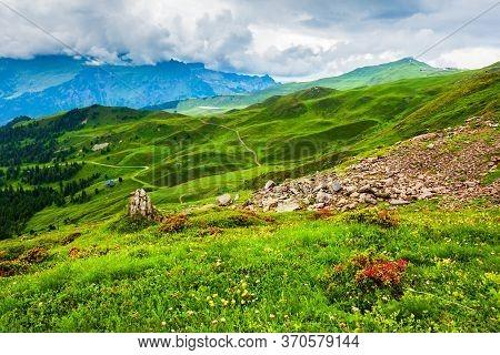 Alpine Landscape, Lauterbrunnen Valley Panoramic View, Bernese Oberland Near Interlaken City In Swit