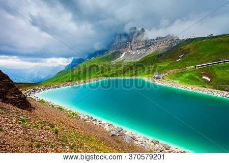 Fallbodensee Lake Near The Eiger, Monch And Jungfrau Mountains In The Bernese Oberland Region Of Swi