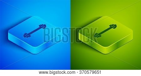 Isometric Line Barbell Icon Isolated On Blue And Green Background. Muscle Lifting Icon, Fitness Barb