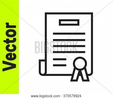 Black Line Declaration Of Independence Icon Isolated On White Background. Vector Illustration