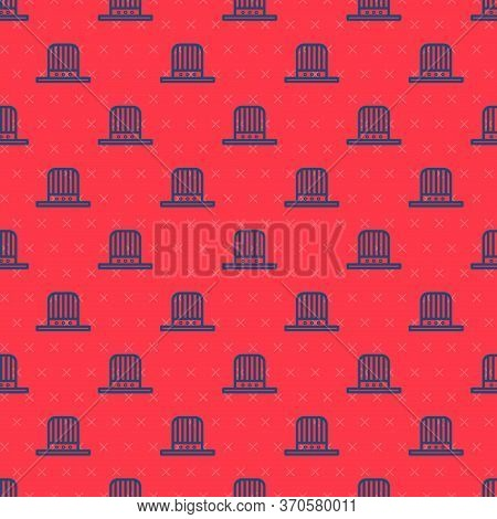 Blue Line Patriotic American Top Hat Icon Isolated Seamless Pattern On Red Background. Uncle Sam Hat