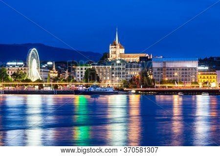 Geneva City Panoramic View. Geneva Or Geneve Is The Second Most Populous City In Switzerland, Locate
