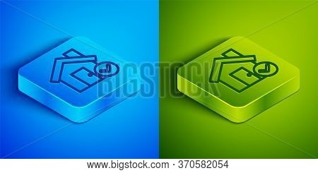 Isometric Line House With Check Mark Icon Isolated On Blue And Green Background. Real Estate Agency