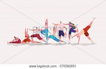 Women And Men Doing Yoga And Sport Design, Gym Sport Bodybuilding Healthy Lifestyle Activity Cardio