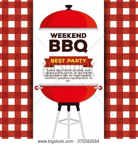 Grill Bbq Preparation To Weekend Party Vector Illustration