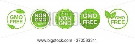 Gmo Free Icons. Non Gmo Label Set. Healthy Organic Food Concept. No Gmo Design Elements For Tags, Pr
