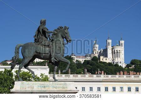 View Of Basilica Of Notre Dame De Fourviere And Louis Xiv Statue, Lyon, France