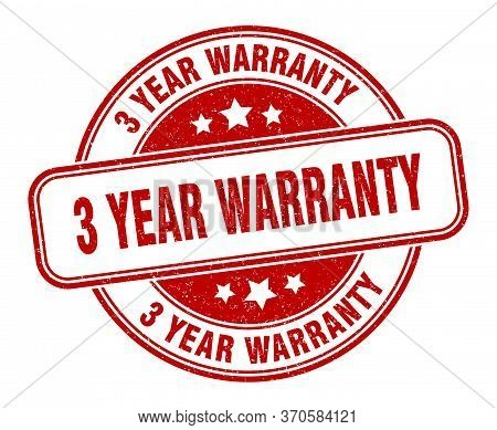 3 Year Warranty Stamp. 3 Year Warranty Round Grunge Sign. Label