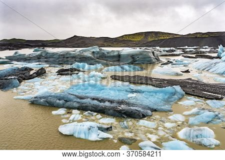 Blue Large  Svinafellsjokull Glacier Brown Lagoon Vatnajokull National Park Iceland.